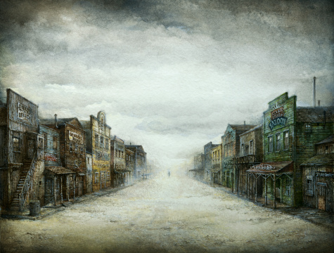 Gloomy day in an old west town. Acrylic on paper, slightly processed.