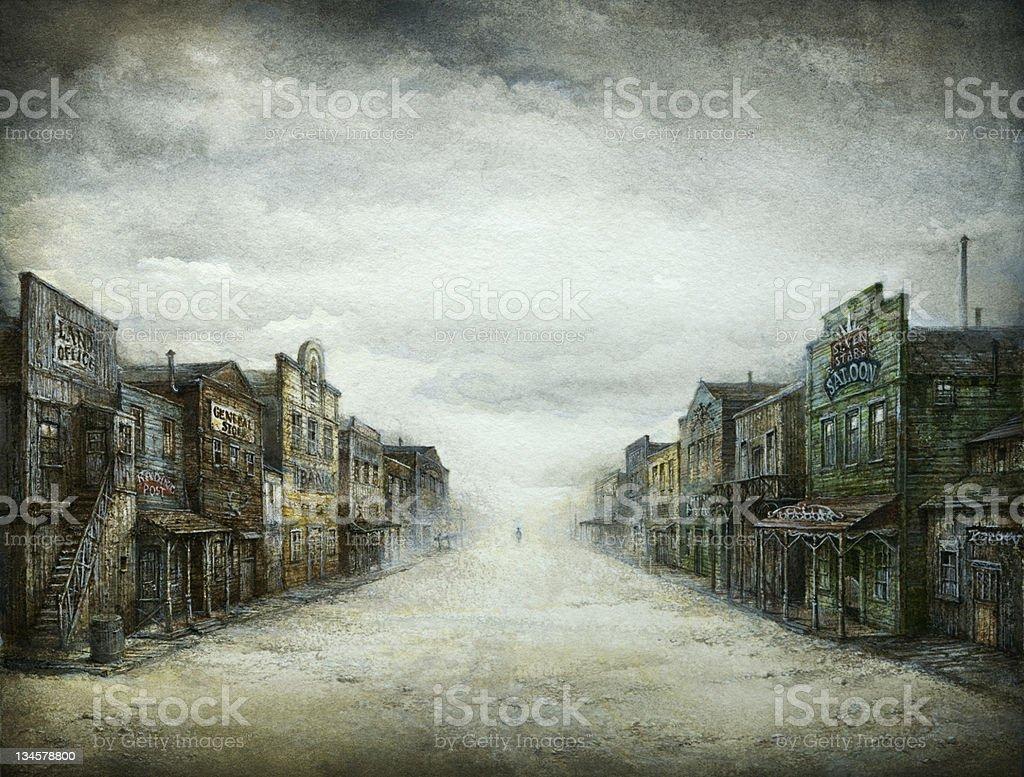 Wild West Town vector art illustration