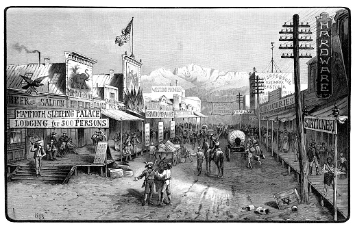 Wild West town village in United States 1893