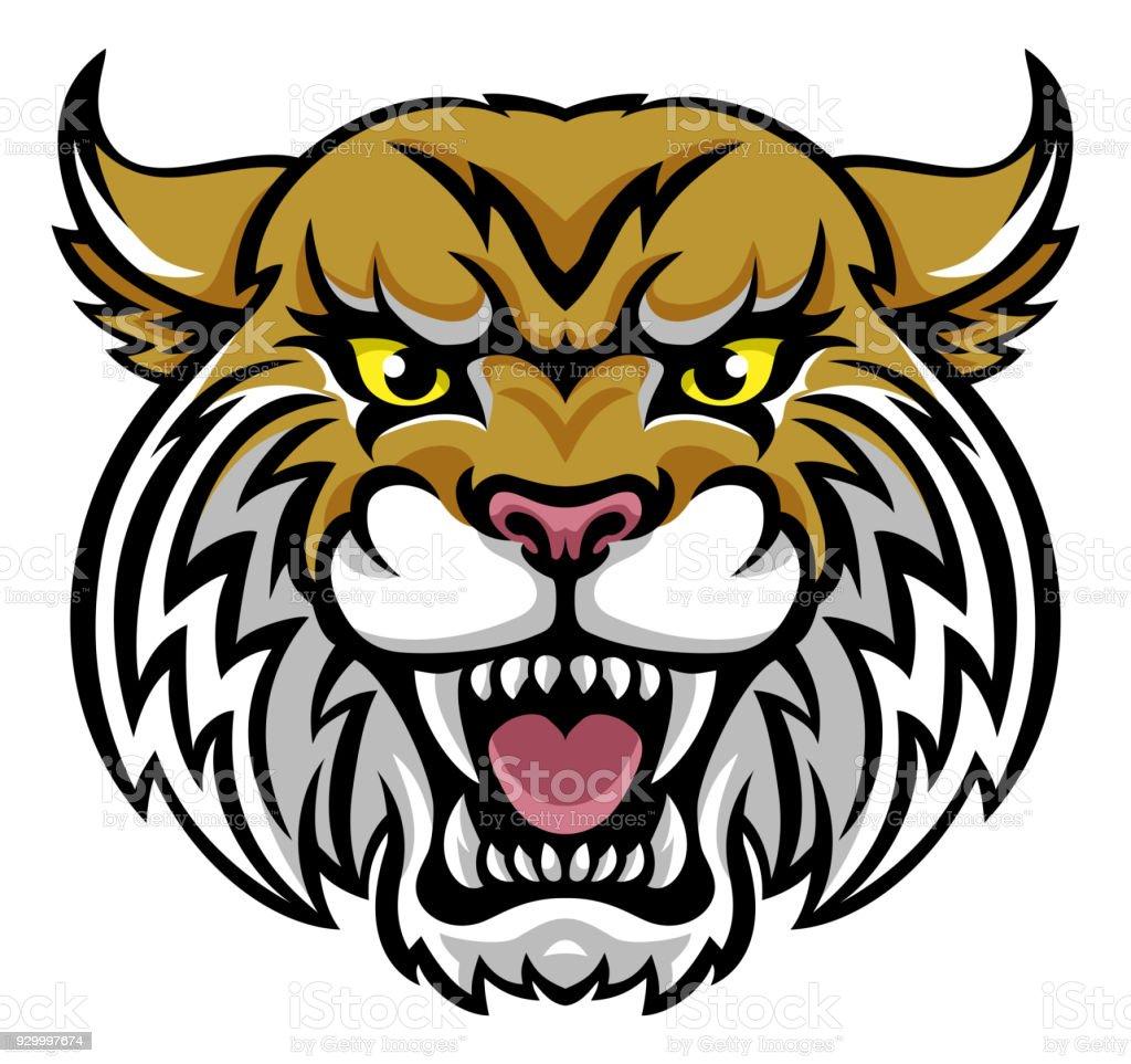 Wildcat Bobcat Mascot vector art illustration