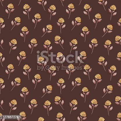 Wildflower flower seamless pattern in a hand drawing style. Watercolor flower on brown background, texture, wrapper pattern