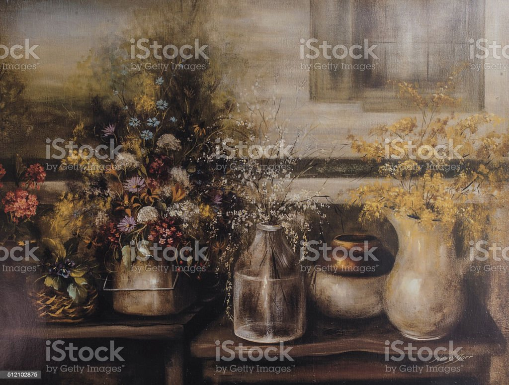 Wildflowers In Old Time Vases Original Painting vector art illustration