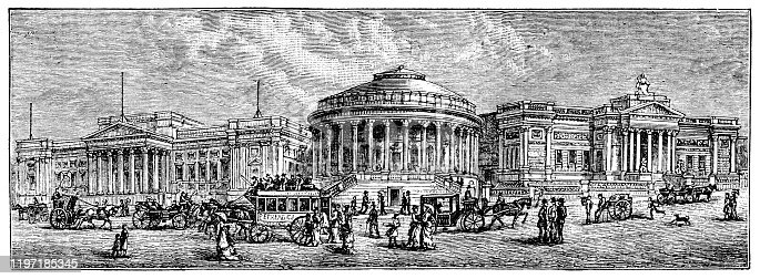 William Brown Street in the city of Liverpool in Merseyside, England, Uk. Vintage etching circa 19th century. Buildings from left to right; William Brown Library, Central Library and Walker Art Gallery.