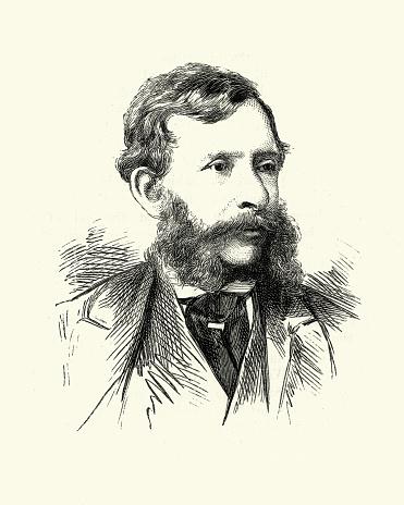 Vintage engraving of William Charles Thomas Dobson, (1817 – 30 January 1898) English artist