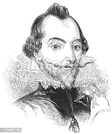 Portrait of William Drummond of Hawthornden, Scottish poet from the Works of William Shakespeare. Vintage etching circa mid 19th century.