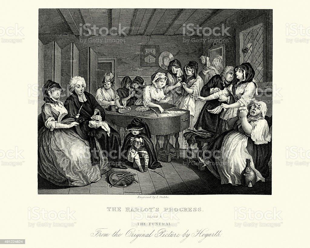 William Hogarth A Harlot's Progress vector art illustration