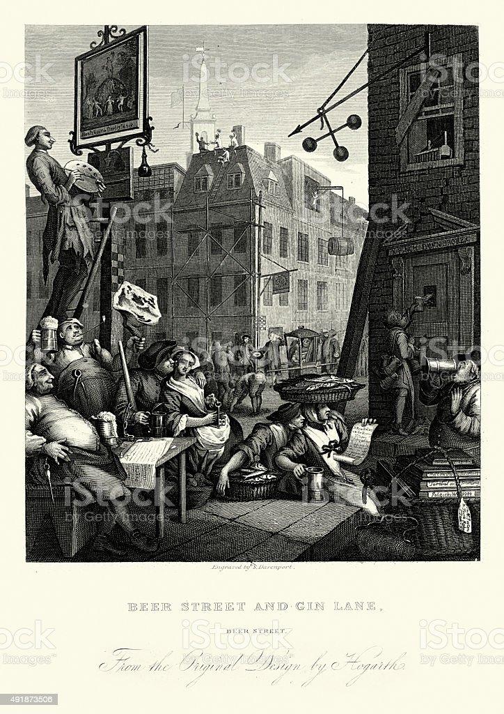William Hogarth Beer Street vector art illustration