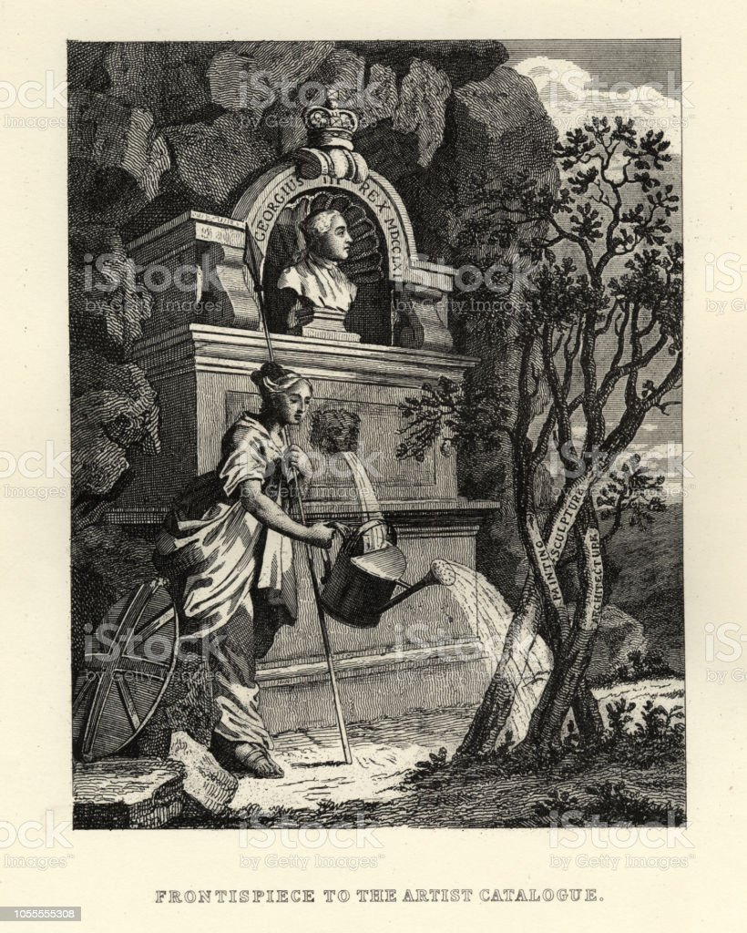 William Hogarth,  Britannia watering the trees of creativity vector art illustration