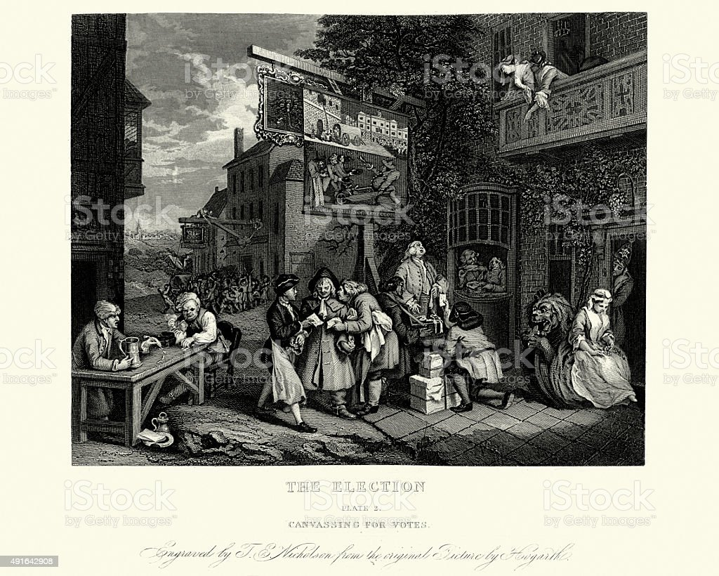 William Hogarth Four Humours of an Election Canvassing for Votes vector art illustration