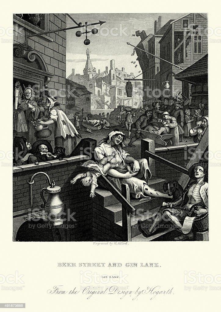 William Hogarth Gin Lane vector art illustration