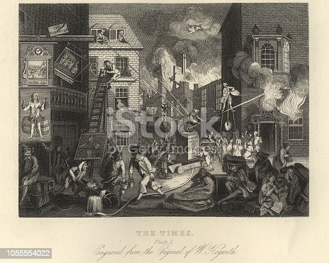 Vintage engraving of William Hogarth, The Times, Plate 1. A city on fire, emblematic of the Seven Years War and George III's efforts to bring about peace, a fire engine on which stands a man with a badge lettered GR aiming his hose at a shop-sign of the globe