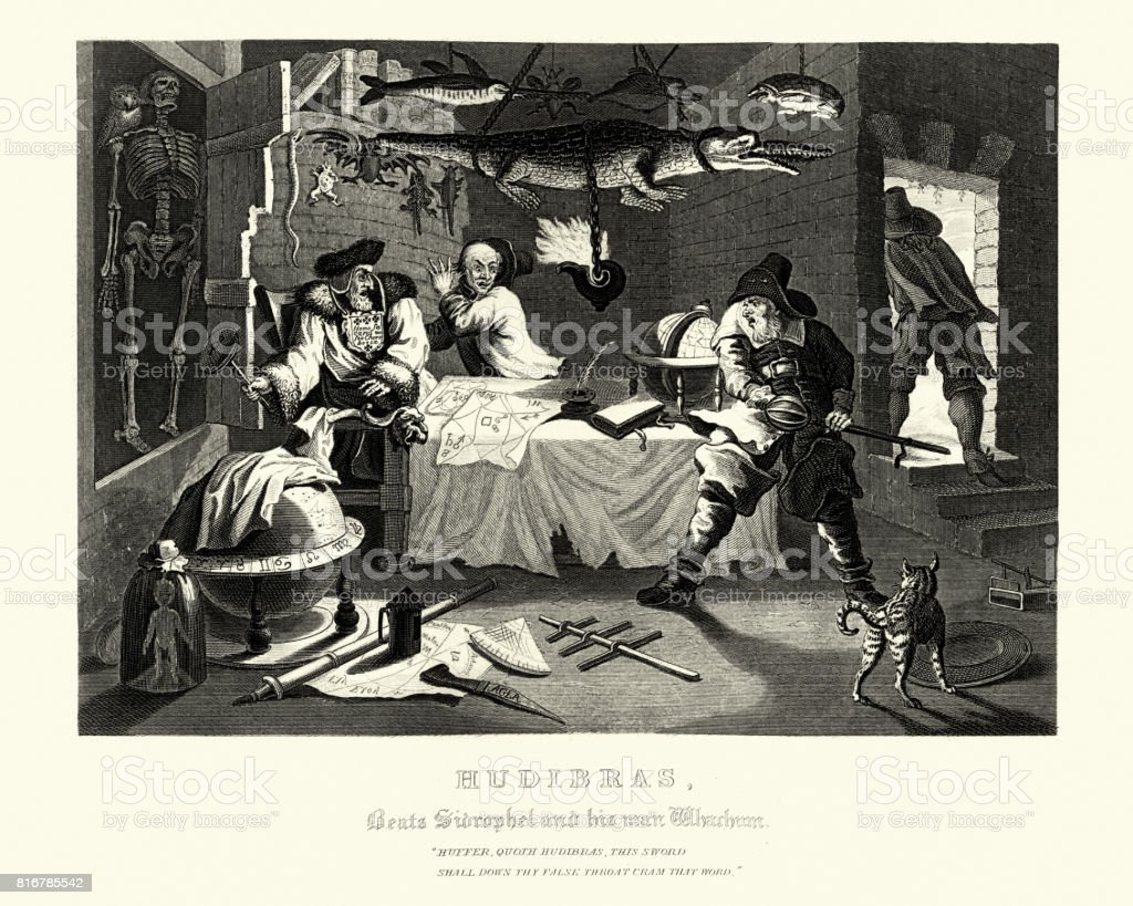 William Hogarth's Hudibras Beats Sidrophel and his man vector art illustration