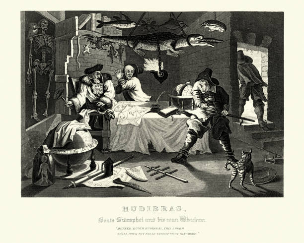 William Hogarth's Hudibras Beats Sidrophel and his man vector art illustration