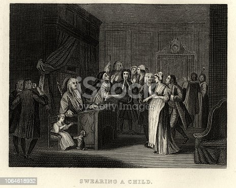 Vintage engraving of William Hogarth's, Woman Swearing a Child to a Grave Citizen. Pregnant woman swears before a Justice of the Peace that the father is a well-to-do married man