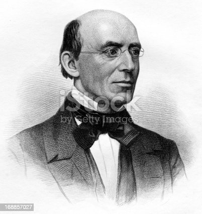 Engraving From 1868 Featuring The American Abolitionist And Supporter Of Women's Rights, William Lloyd Garrison.  Garrison Lived From 1805 Until 1879.