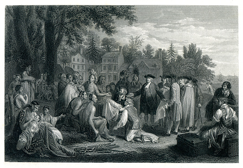 William Penn peace treaty in 1683 with Delaware Indians