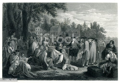 Steel engraving The Treaty of Penn with the Indians William Penn entering into peace treaty in 1683 with Tamanend, a chief of the Lenape ( Delaware Indians ) Turtle Clan, under the shade of an elm tree near the village of Shackamaxon ( now Kensington ) in Pennsylvania. Graveur : J.C. Armytage - J. Trumbull Original edition from my own archives Source :