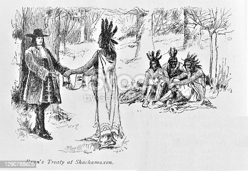 Pennsylvania Founder William Penn receives a gift from Native American Lenni Lenape Chief. Illustration published in The New Eclectic History of the United States by M. E. Thalheimer (American Book Company; New York, Cincinnati, and Chicago) in 1881 and 1890. Copyright expired; artwork is in Public Domain.