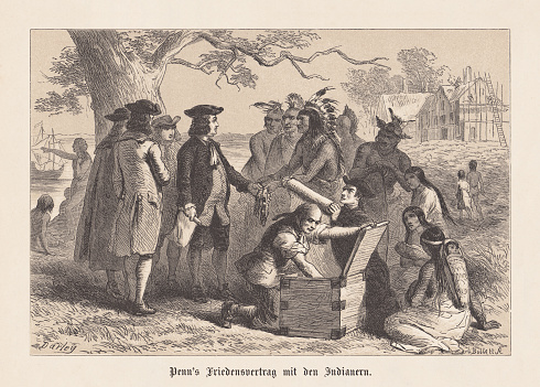 William Penn's Treaty with the Indians, 1682, woodcut, published 1876