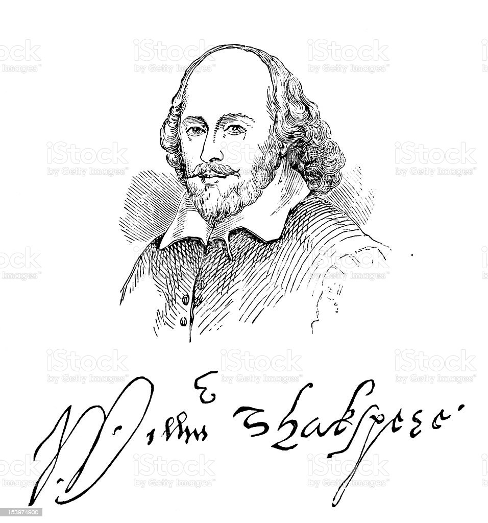 William Shakespeare And His Signature vector art illustration