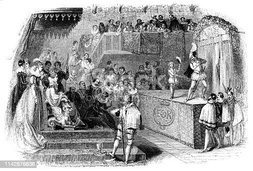 William Shakespeare and Lord Chamberlain's Men performing Love's Labour's Lost for Elizabeth I, Queen of England (circa 16th century) from the Works of William Shakespeare. Vintage etching circa mid 19th century.