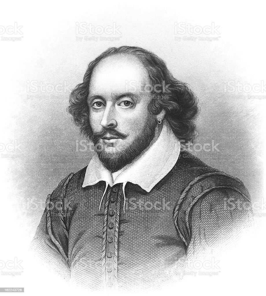 William Shakespeare - Antique Engraved Portrait vector art illustration