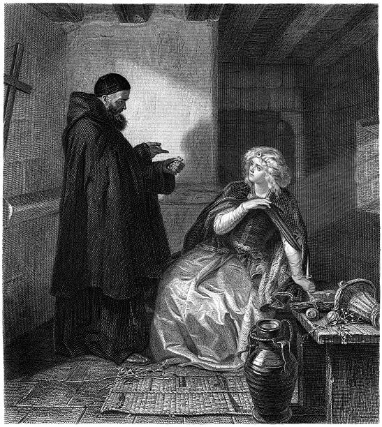 william shakespeare: cell of friar lawrence (romeo and juliet) (illustration) - romeo and juliet stock illustrations, clip art, cartoons, & icons