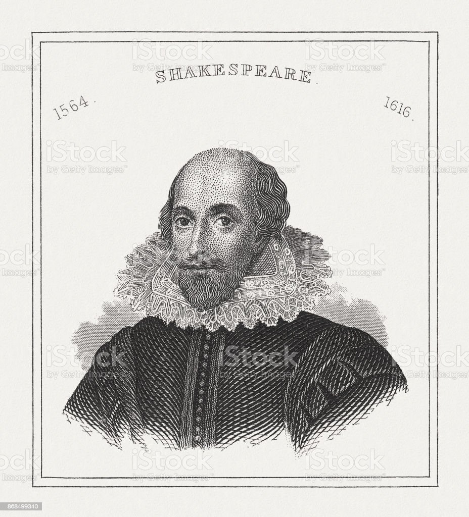 William Shakespeare (c.1564-1616), English poet, steel engraving, published in 1843 vector art illustration