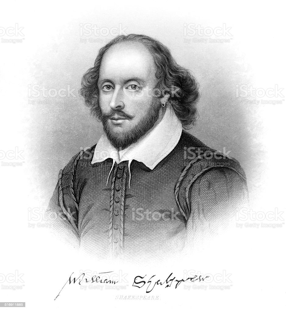 William Shakespeare Engraving vector art illustration