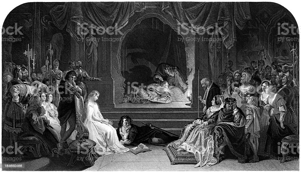 William Shakespeare: Hamlet, the play scene (engraved illustration) vector art illustration