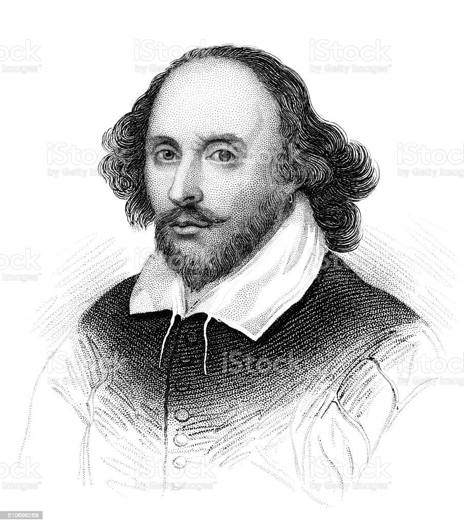 William Shakespeare vector art illustration