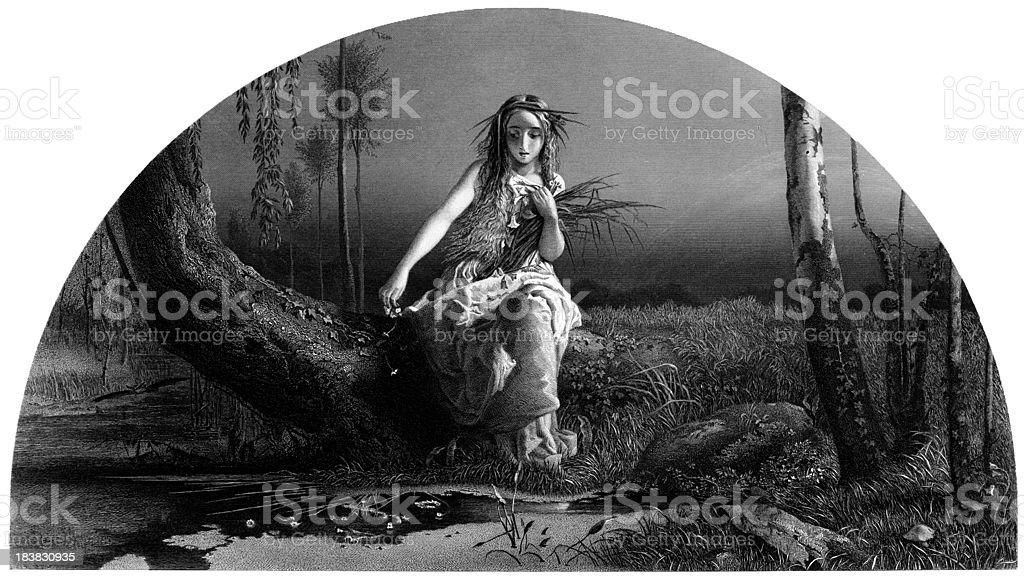 William Shakespeare: Ophelia (Hamlet) (Engraved illustration) royalty-free stock vector art