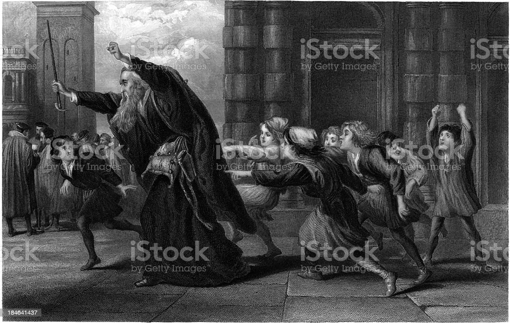 William Shakespeare: Shylock after the trail (Merchant of Venice) (Illustration) royalty-free stock vector art