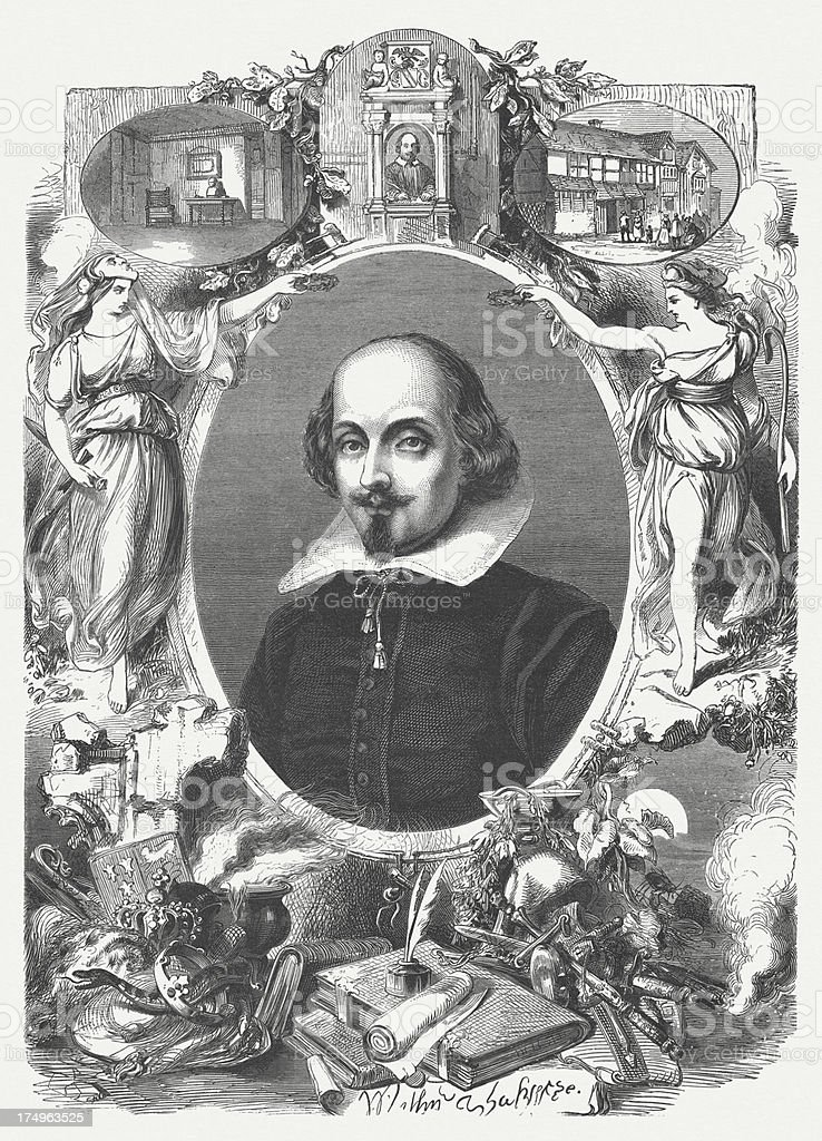 William Shakespeare (c. 1564-1616), wood engraving, published in 1864 royalty-free stock vector art