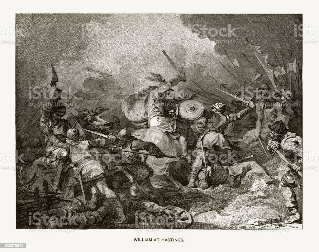 William The Conqueror at the Battle of Hastings Engraving