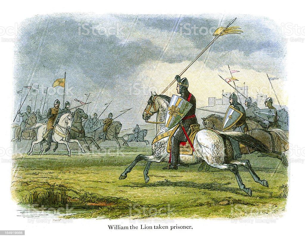 William the Lion taken prisoner vector art illustration