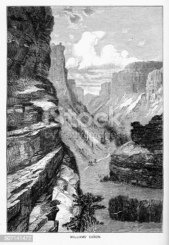 Very Rare, Beautifully Illustrated Antique Victorian Engraving of Williams Canyon in Manitou, Colorado from Marvels of the New West, a Vivid Portrayal of the Stupendous Marvels in the Vast Wonderland West of the Missouri River. Published in 1888 by the Henry Bill Publishing Company. Copyright has expired on this artwork. Digitally restored.