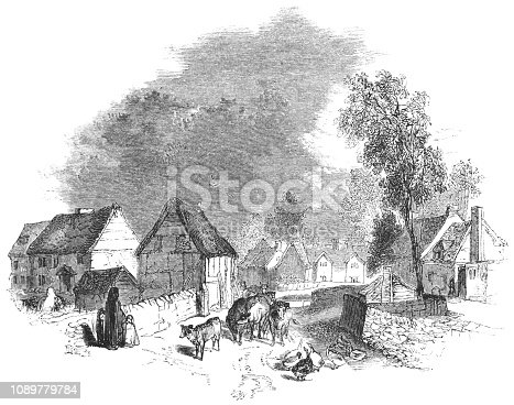 The village of Wilmcote in Warwickshire, England from the Works of William Shakespeare. Vintage etching circa mid 19th century.