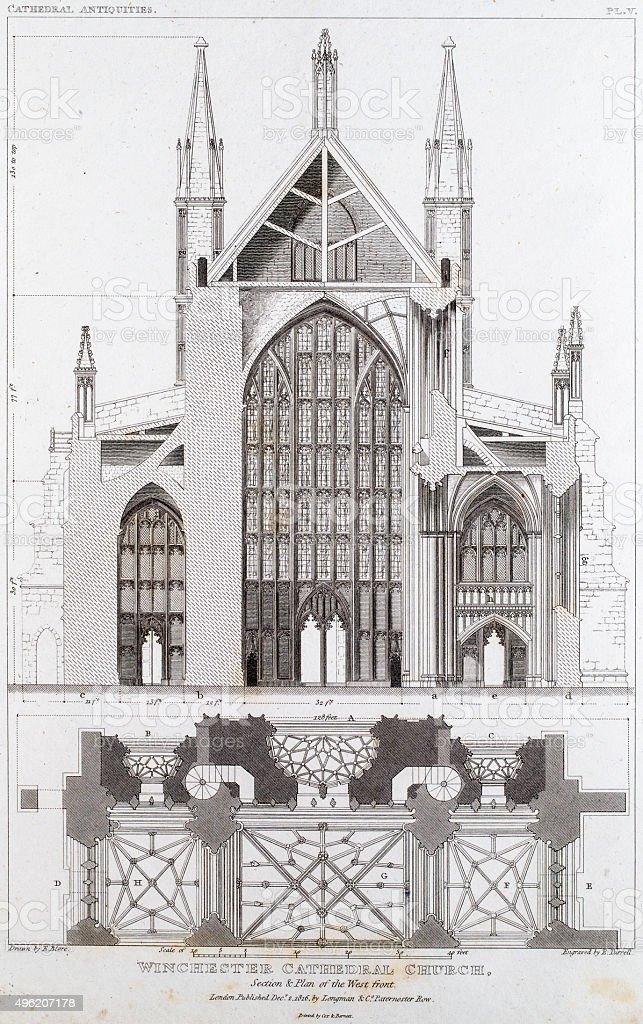Winchester Cathedral vector art illustration