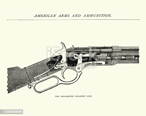 Vintage engraving of a Winchester rifle, Magazine Gun, 19th Century.Winchester rifle is a comprehensive term describing a series of lever-action repeating rifles manufactured by the Winchester Repeating Arms Company. Developed from the 1860 Henry rifle, Winchester rifles were among the earliest repeaters. The Model 1873 was particularly successful, being colloquially known as The Gun that Won the West.