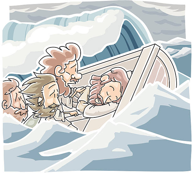 Wind and the sea obey Jesus vector art illustration