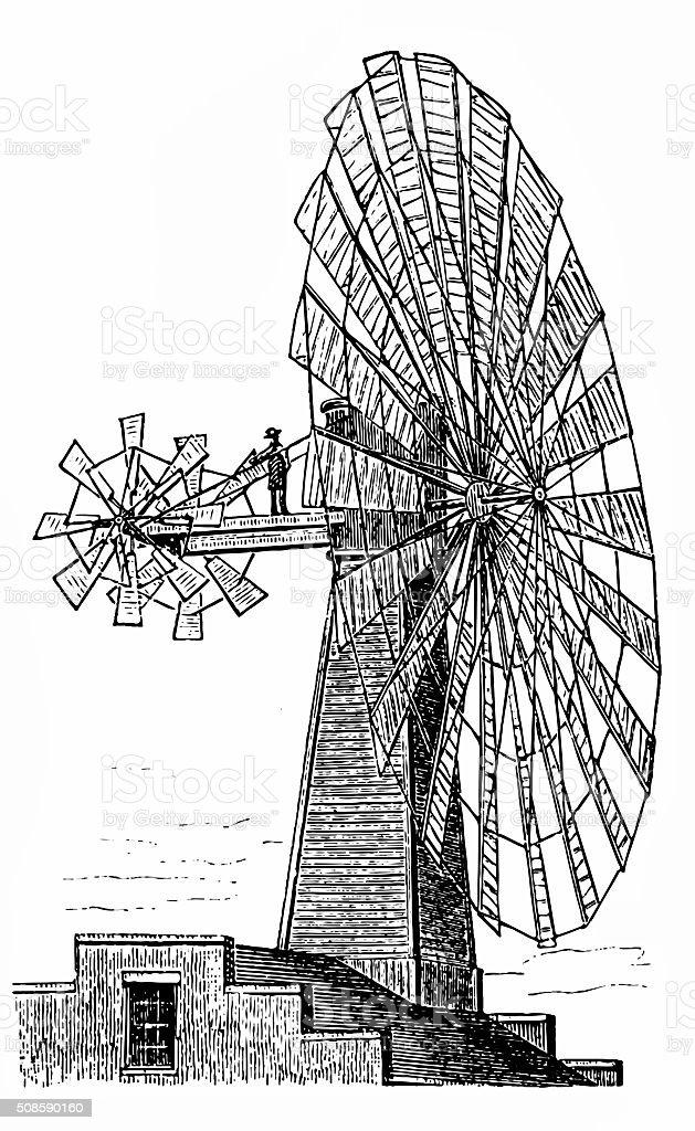 Wind motor vector art illustration