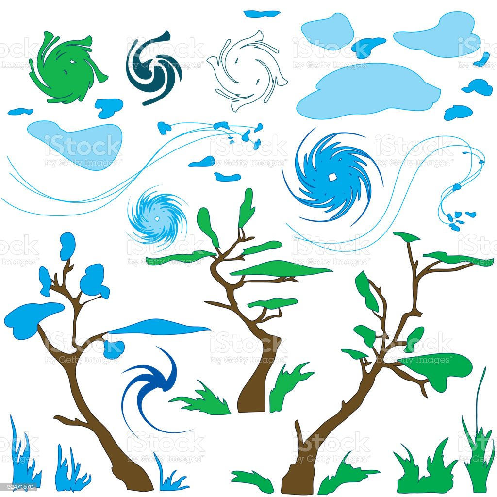 Wind , swirls and trees  02 royalty-free stock vector art