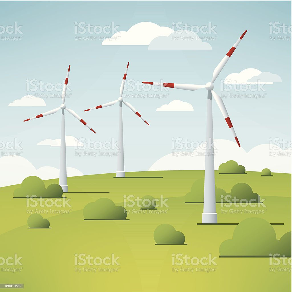 Wind Turbine Landscape Vector royalty-free stock vector art