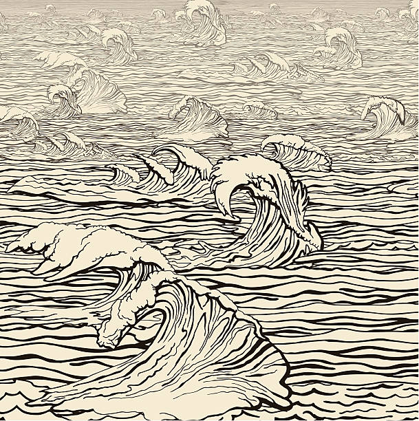Wind velocity over the sea vector art illustration