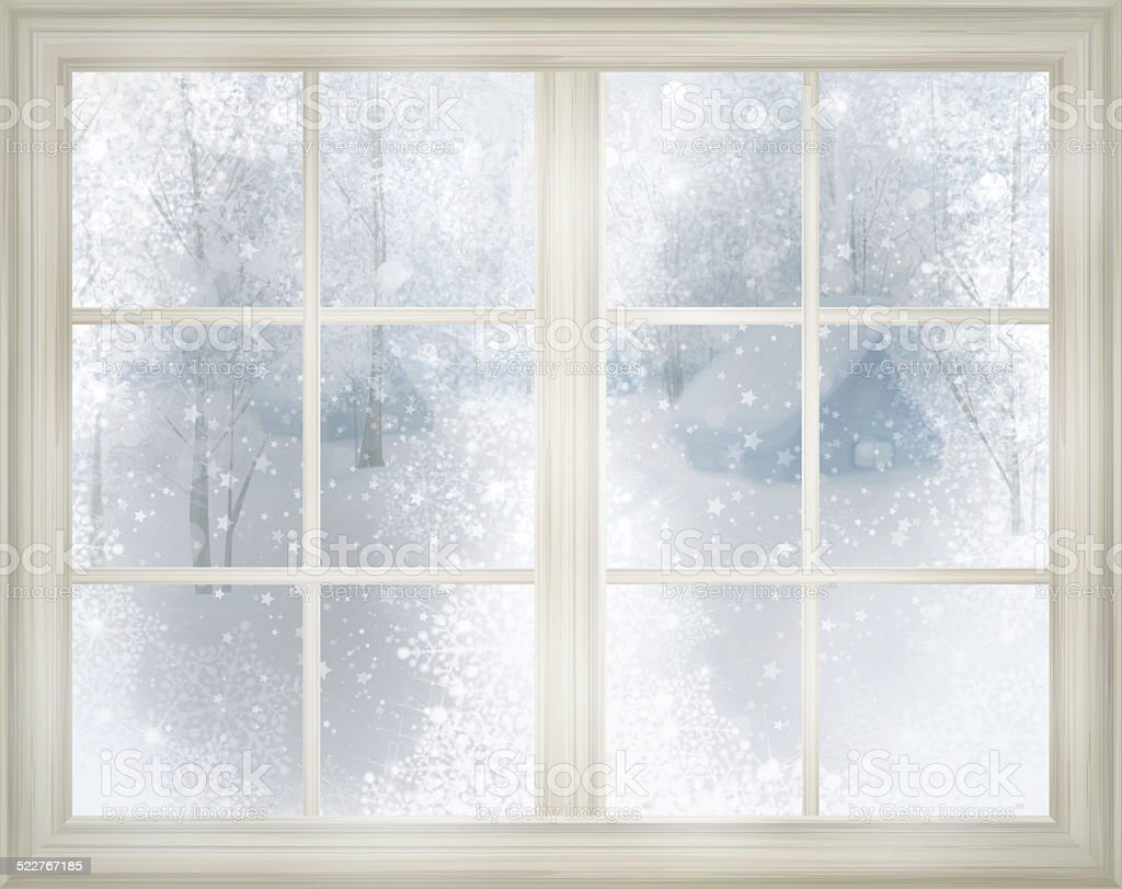 Window with winter view of snowy background. vector art illustration