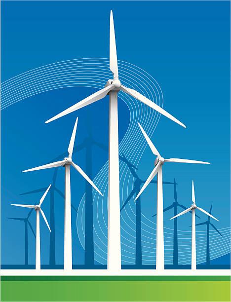 windturbines perspective - rüzgar değirmeni stock illustrations
