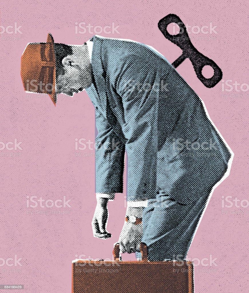 Wind-Up Man vector art illustration