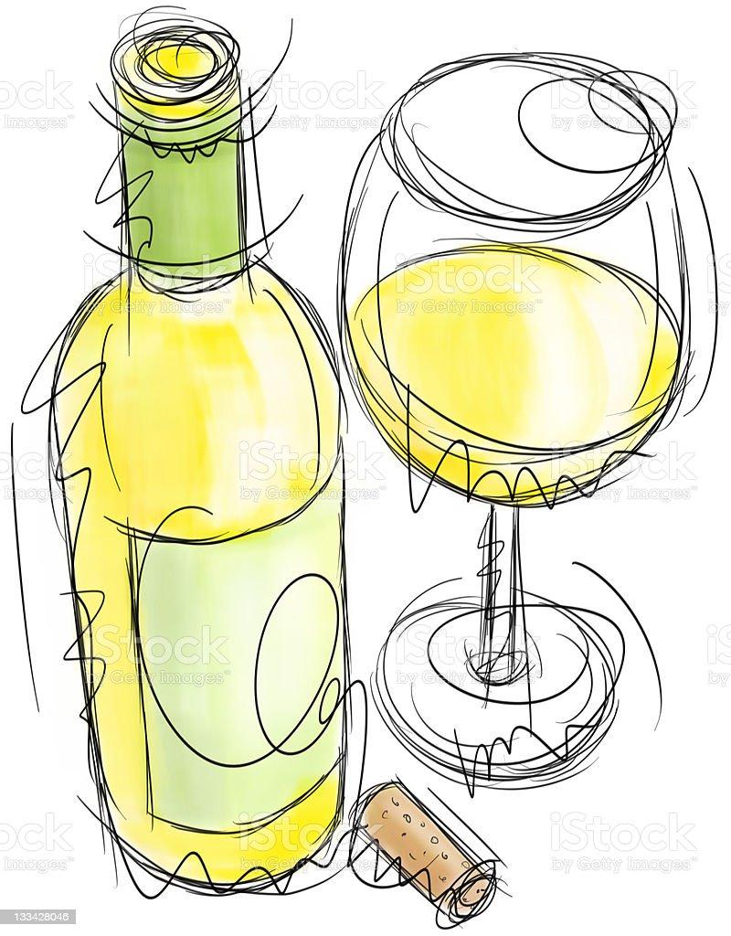 Wine bottle and glass vector art illustration