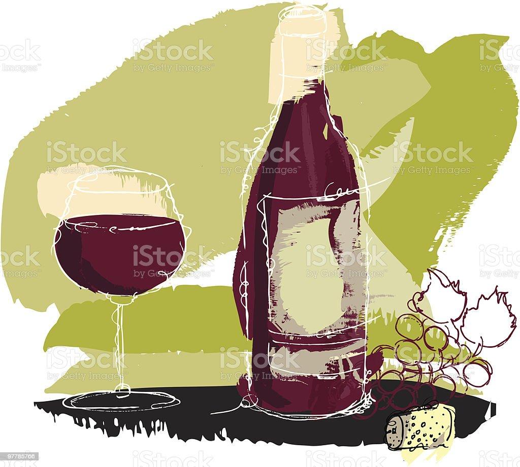 Wine bottle and grape vector art illustration